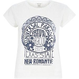 White vintage festival print t-shirt