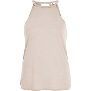 Beige neppy sleeveless top