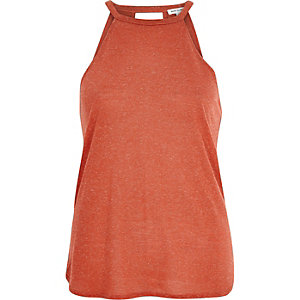 Orange neppy sleeveless top