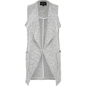 Grey jersey sleeveless jacket