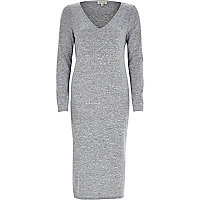 Grey V-neck longline t-shirt dress