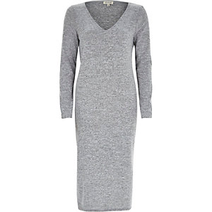 Grey V-neck long sleeve t-shirt dress