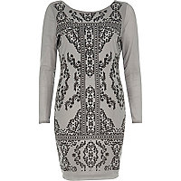 Grey textured print bodycon dress