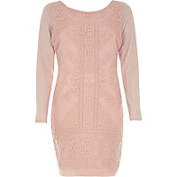 Pink textured print bodycon dress