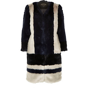 Navy glam faux fur coat