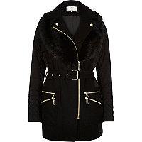 Black padded faux-fur collar jacket