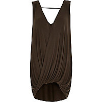 Khaki sleeveless drape front top