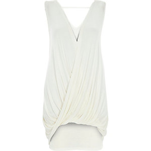 Cream sleeveless drape front top