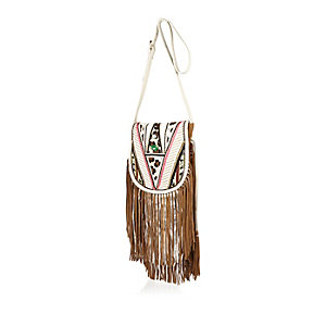Brown leather fringed cross body handbag