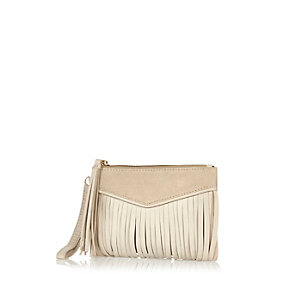 Cream leather fringed pouch