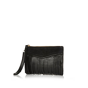 Black leather fringed pouch