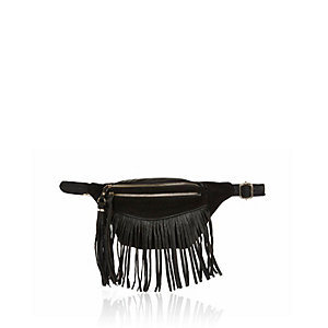 Black leather fringed bumbag