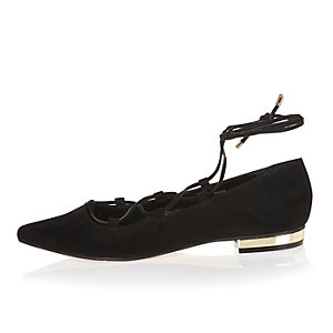 Black ghillie lace up pointed flats