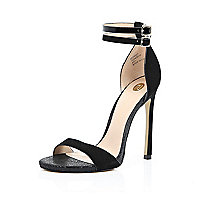 Black double strap barely there heels