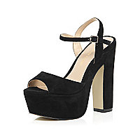 Black suede platform block heel sandals