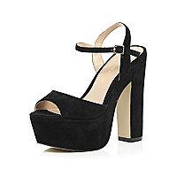 Black suede platform block heel sandals