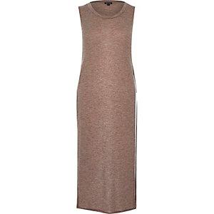 Light brown slouchy side split tunic