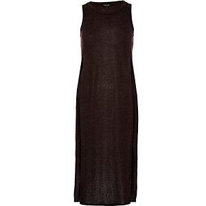 Dark brown slouchy side split tunic