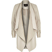 Beige leather-look draped jacket