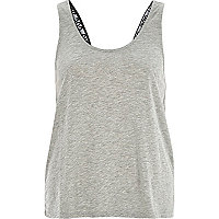 Grey wordy strap vest