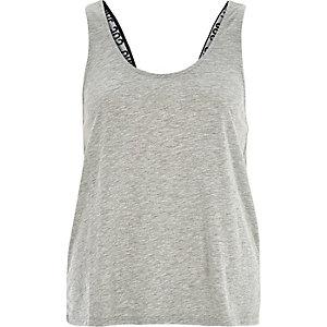 Grey slogan strap vest