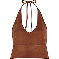 Brown faux suede halter neck crop top