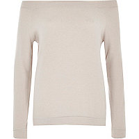 Beige long sleeve bardot top