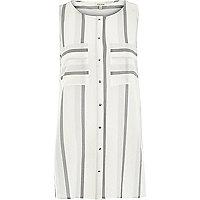 Grey stripe sleeveless shirt