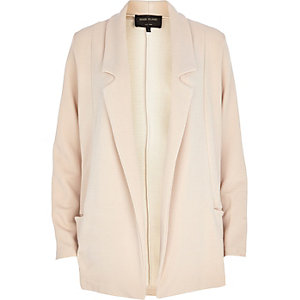 Cream twill jersey blazer jacket