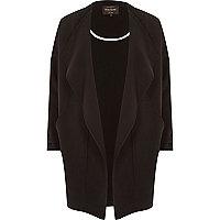 Black crepe drape slouchy coat