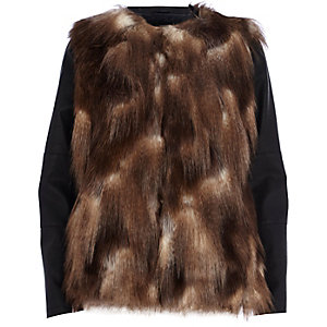Brown faux-fur leather-look sleeve jacket