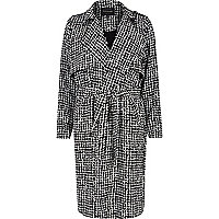 Black longline print crepe draped trench coat