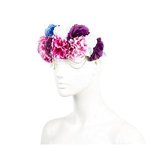 Pink large flower chain hair garland