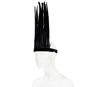 Black oversized feather festival hairband