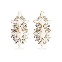 White statement front and back earrings