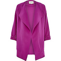 Purple crepe relaxed fit draped jacket