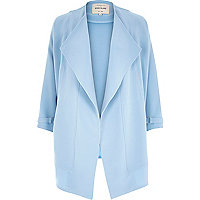 Light blue crepe relaxed fit draped jacket
