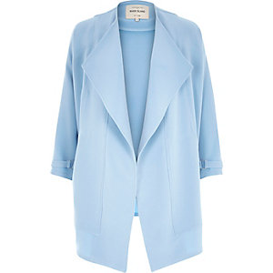 Light blue crepe drape slouchy jacket