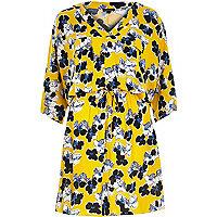 Yellow floral print kimono dress