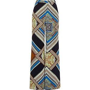 Navy scarf print palazzo pants
