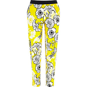 Yellow floral print cigarette trousers