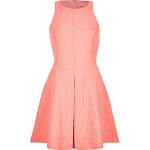 Coral sleeveless skater dress