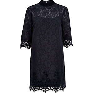 Navy lace high neck shift dress