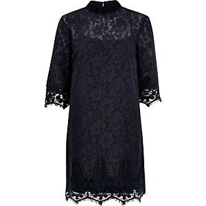 Navy lace high neck shift dress