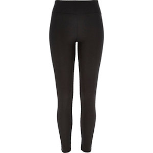 Black ribbed high waisted shiny leggings
