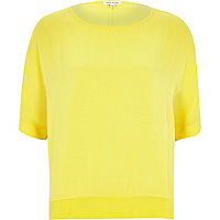 Yellow loose lightweight sheer hem top
