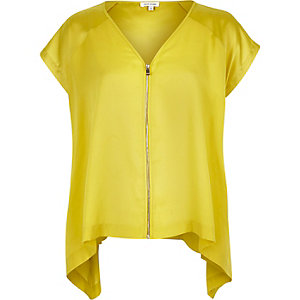 Yellow silky zip front asymmetric hem t-shirt