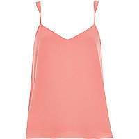 Pink V-neck split back cami top