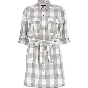 Grey check shirt dress