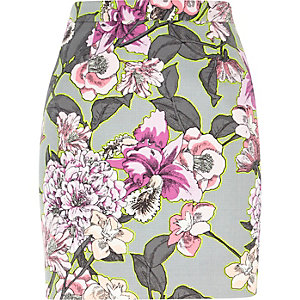 Grey floral pink A-line mini skirt